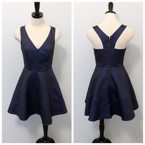 Express Metallic Blue Racerback Skater Party Dress